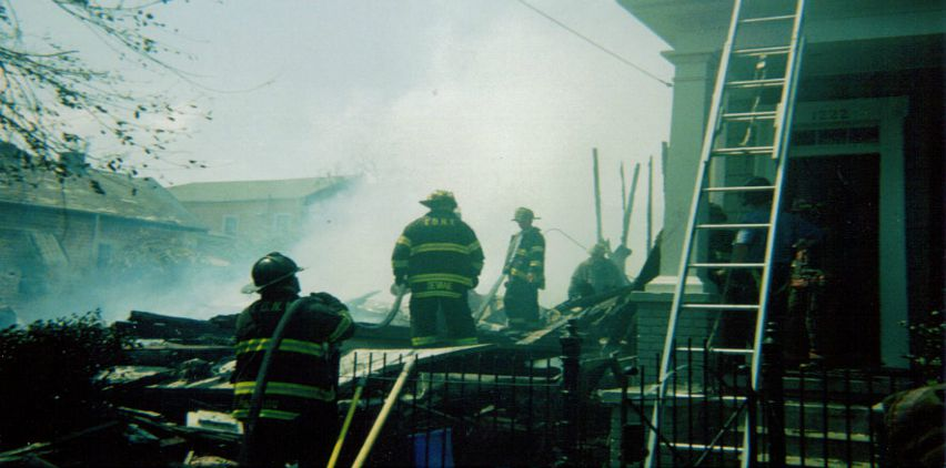 FDNY Hurricane Katrina relief. Saint Andrews St. fire. Partial 1222 burned. ©Richard Mercado (Photo from Brittany Wood on Pinterest)