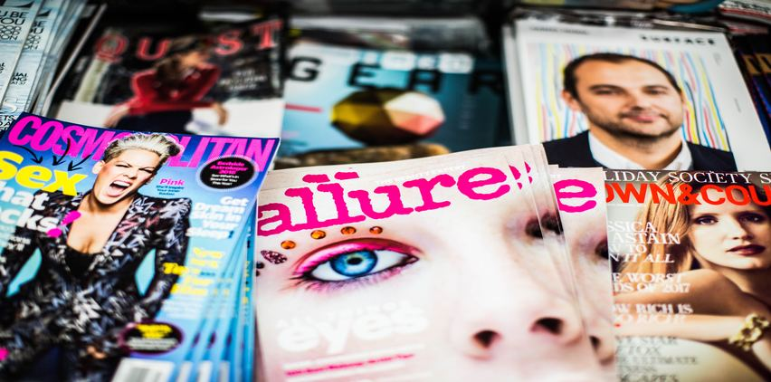 stack of women's magazines