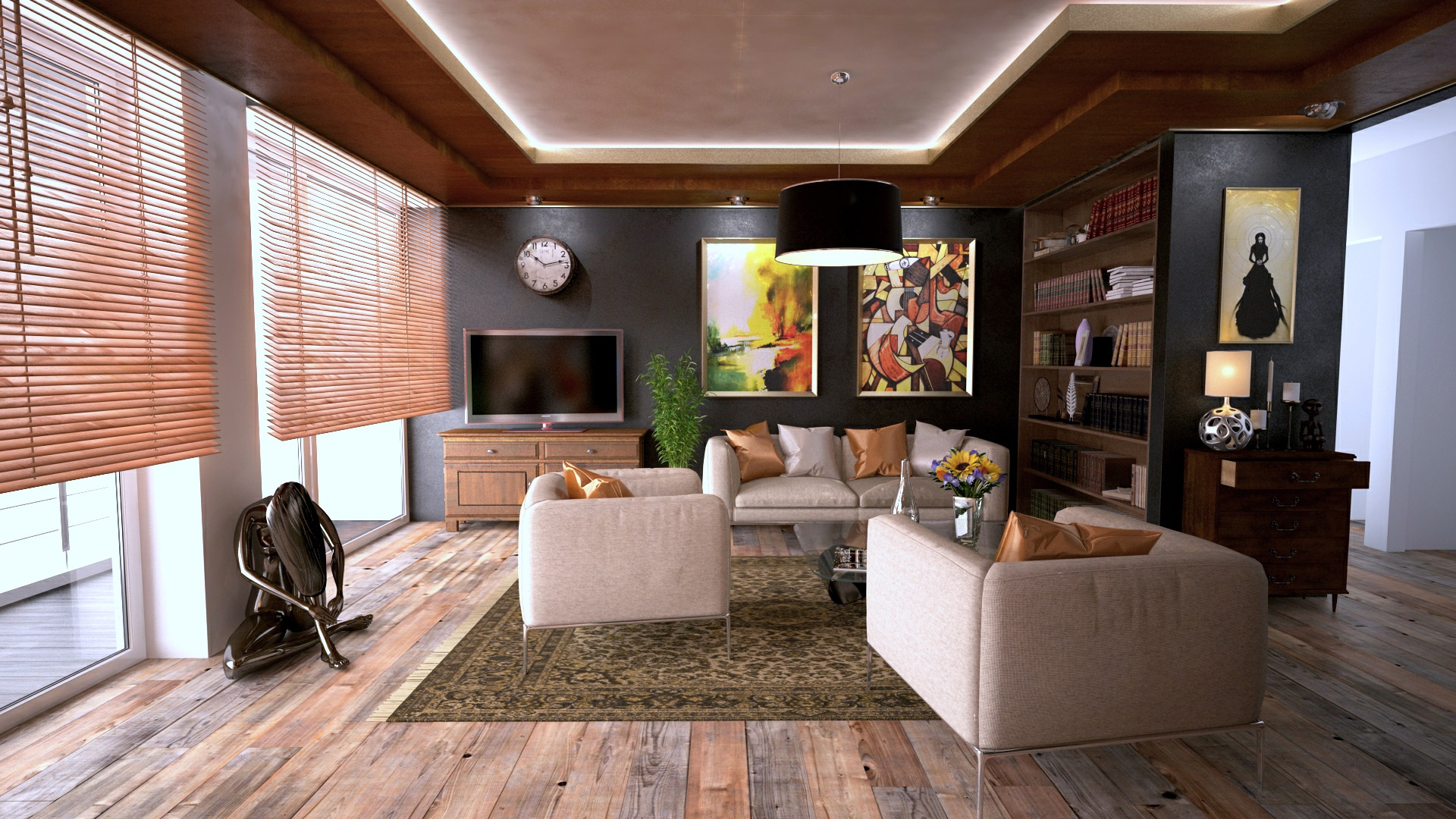 clean organized living room keeps you happier at home