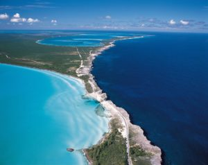 The glass window bridge, Caribbean Sea and Atlantic Ocean