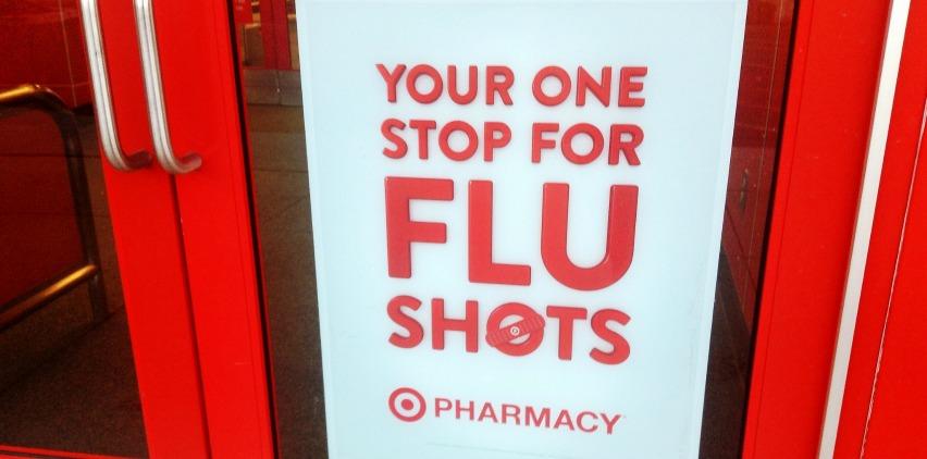 target sign for flu shot on doors