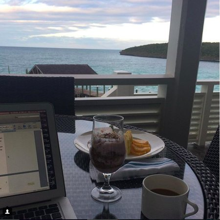 caribbean view and laptop from French Leave Bahamas