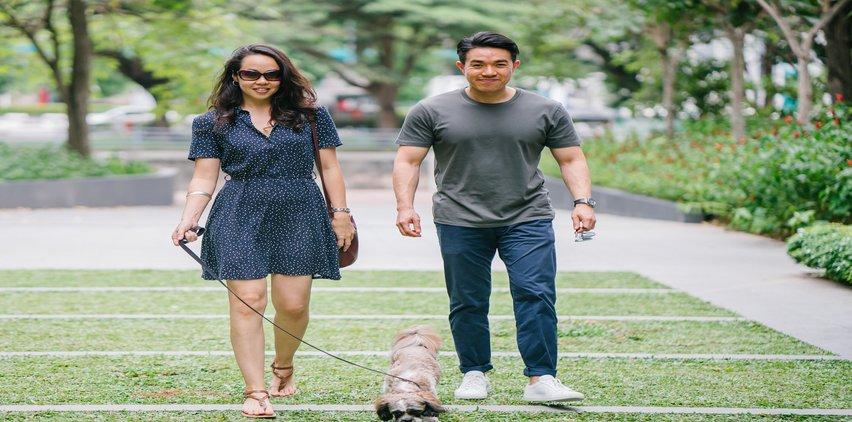 asian couple walking dog happy relationship