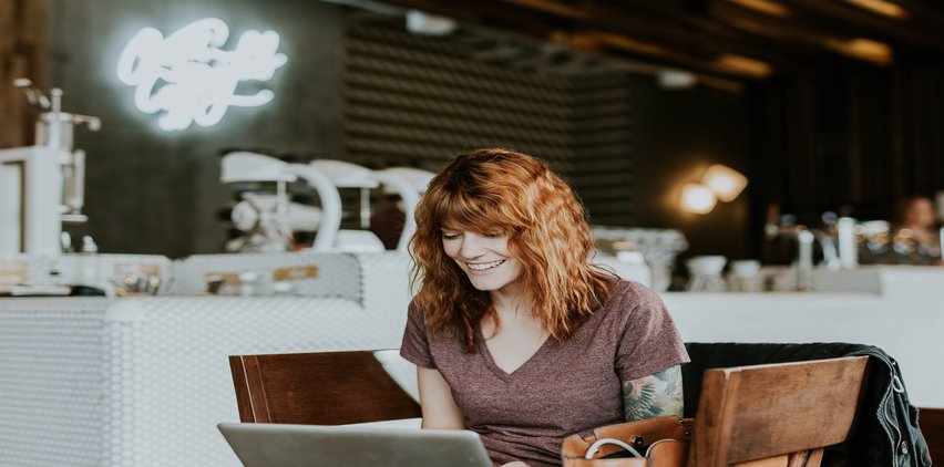 productivity freelance writing woman at coffee shop