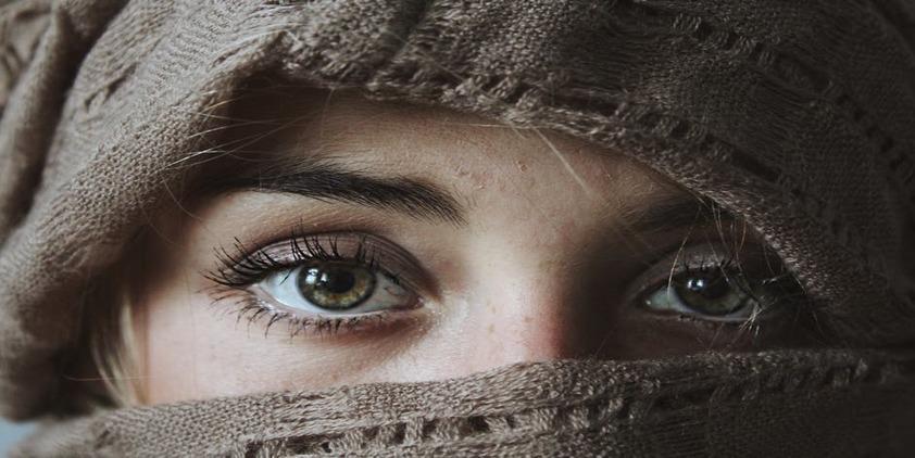 Pexels. Closeup of woman wearing hijab's green eyes