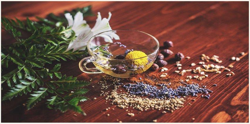 herbs and tea for beautiful skin