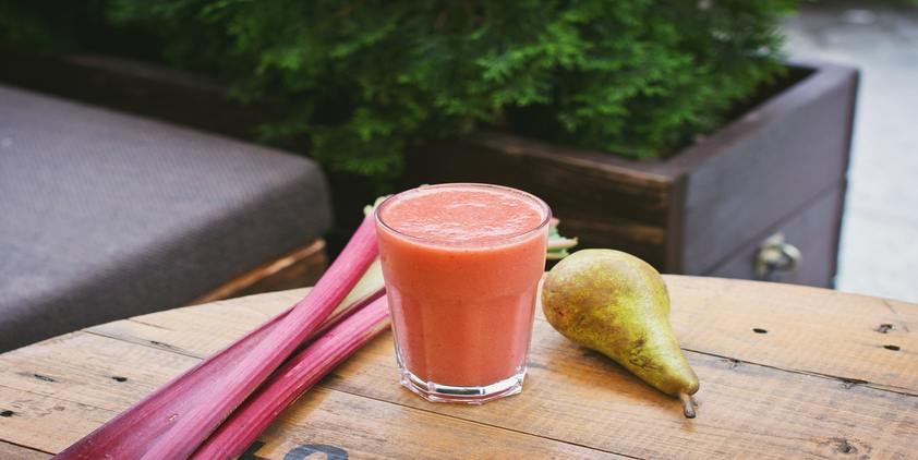 unsplash. smoothie, pear, and vegetables on picnic table