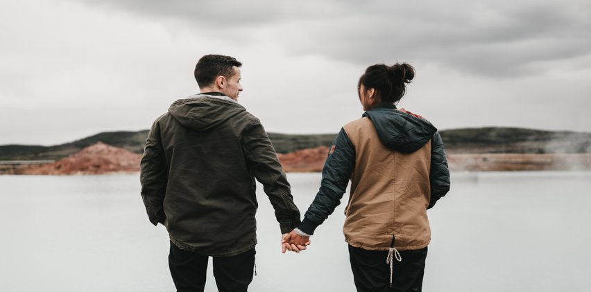 couple overlooking lake