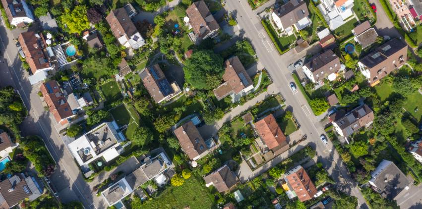 An aerial shot of a suburban neighborhood