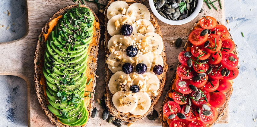 Three plant-based vegetarian toasts for breakfast.