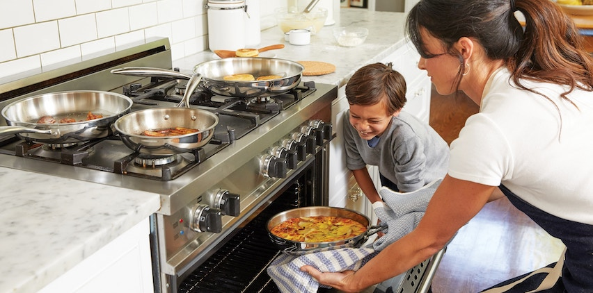 Mother and son cooking a healthy meal