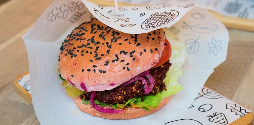 Veggie burger in a wrapper