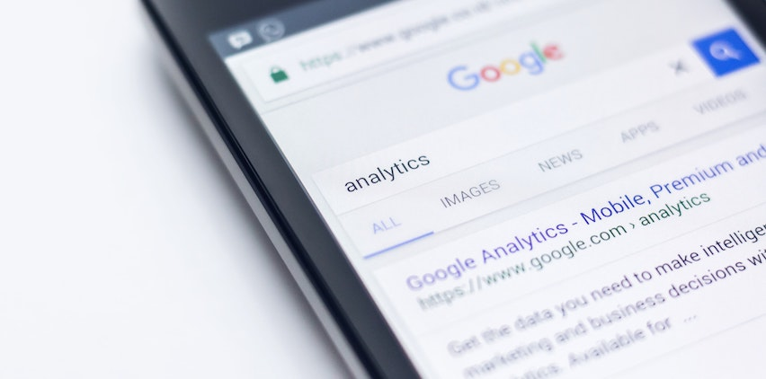 A Google search page for analytics