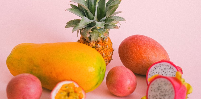 Fruit on a pink background