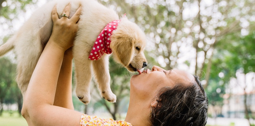 A woman kissing a puppy in the air.