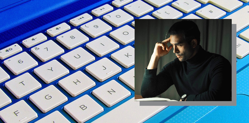 a blue and white keyboard overlayed with a photo of a man