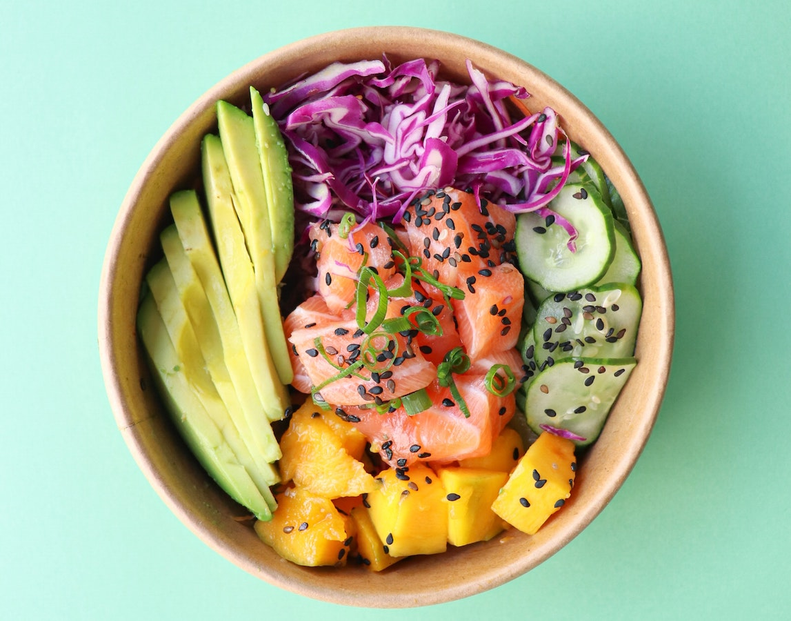 A bowl with salmon and veggies